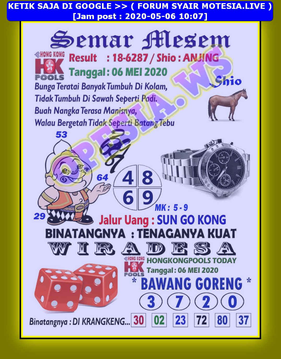 Kode syair Hongkong Rabu 6 Mei 2020 3
