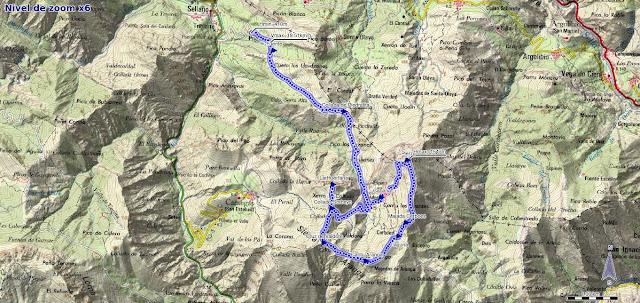 Mapa de la Ruta al Pierzu y la Huérfana desde Priesca