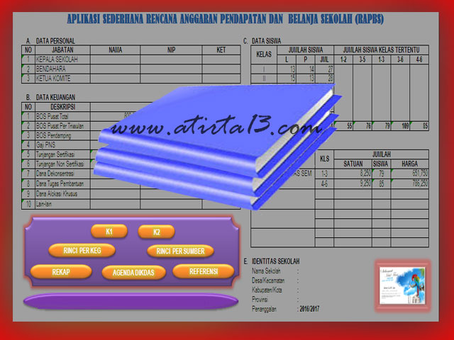 Aplikasi RAPBS ( Rencana Pendapatan Anggaran Sekolah ) Format Excel 2016/2017