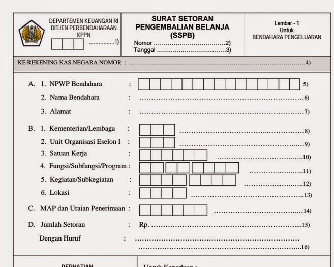 Format SSPB atau Format Surat Setoran Pengembalian Belanja (SSPB)