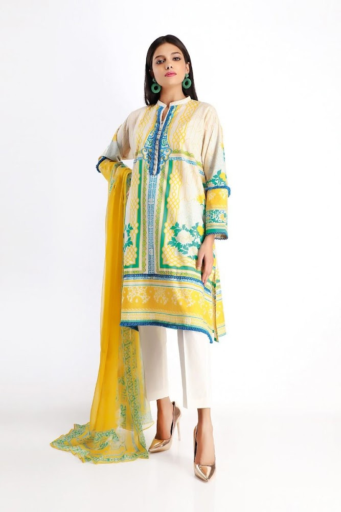 khaadi white & Yellow lawn printed shirt dupatta