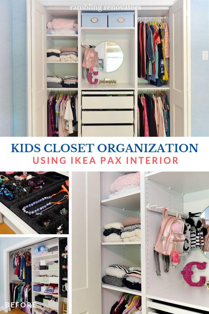 kids closet organization ideas, kid friendly closet organization, built in IKEA closet, tween closet, IKEA Pax closet