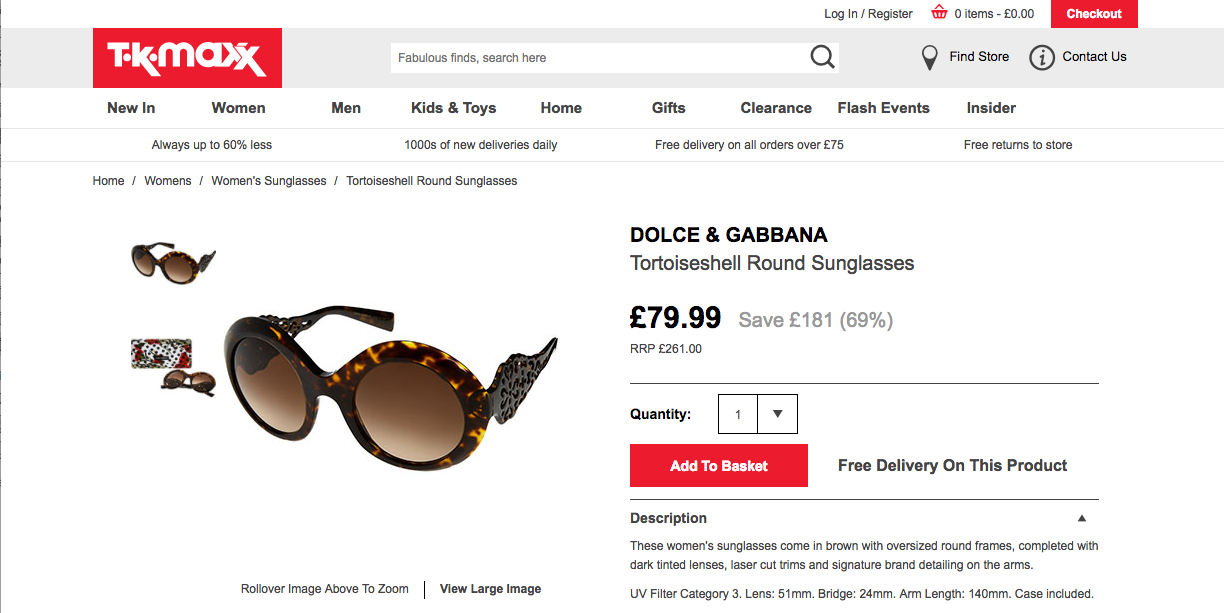 7a243af3311 Authentic designer sunglasses from £10 at TK Max - BOUJEE ON A BUDGET