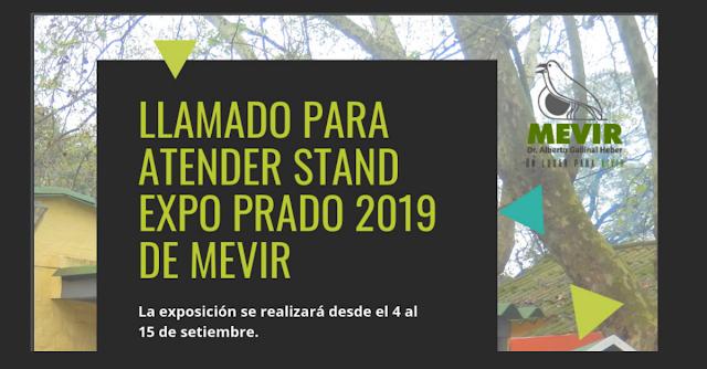 LLamado para atender stand expo prado 2019 de Mevir