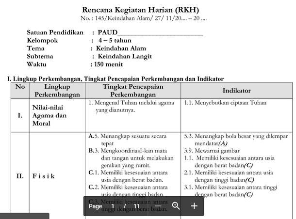 RKH PAUD 5-6 Tahun Tema Keindahan Alam Kurikulum 2013