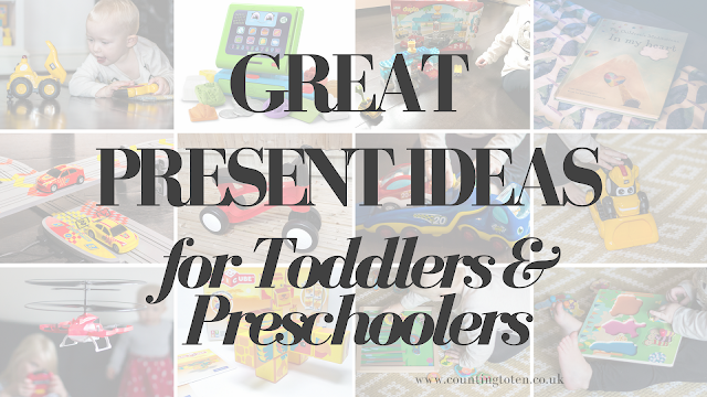 Collage of 12 picture as shown below showing great present ideas for Toddlers & Preschoolers
