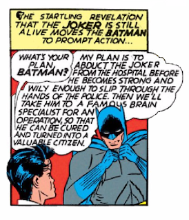 "Batman (1940) #2 Page 2 Panel 2: Batman's plan for The Joker involves a little brain surgery to ""heal him."""