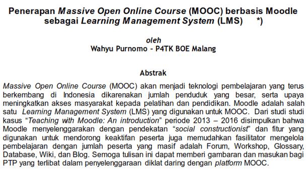 Penerapan Massive Open Online Course (MOOC) berbasis Moodle sebagai Learning Management System (LMS)