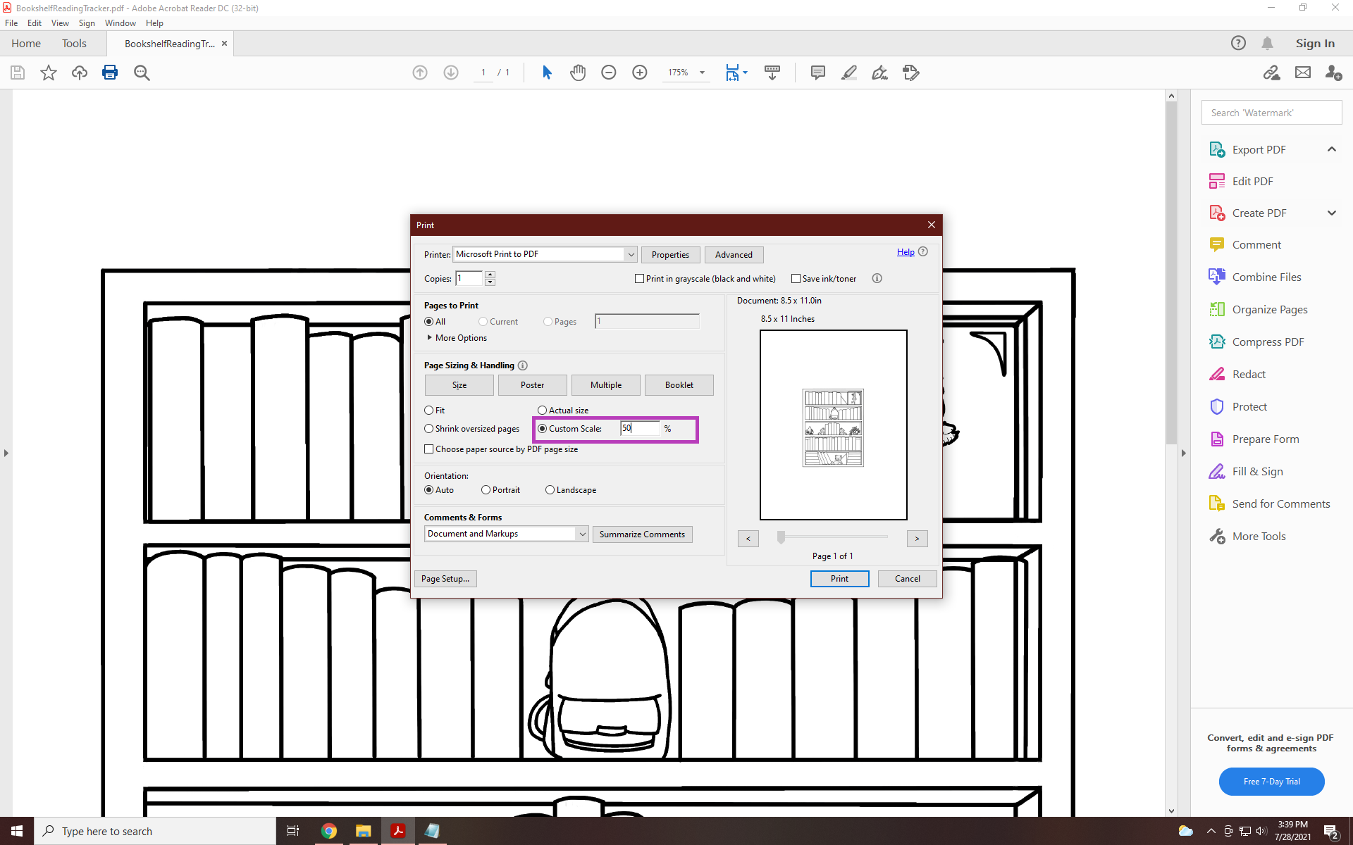 printing by scaling in adobe reader