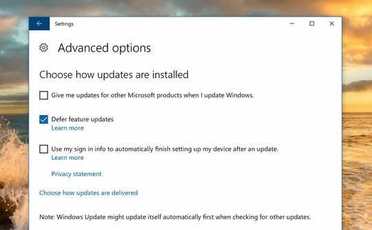 defer windows 10 updates