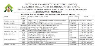 NECO GCE (External) Timetable [8th Nov - 8th December 2021]