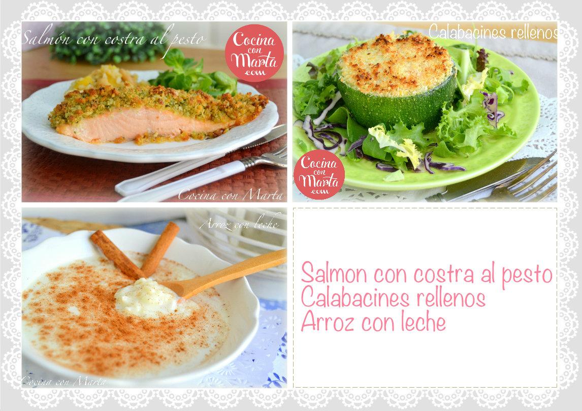 Menú del día, salmón al pesto, calabacines rellenos, arroz con leche, cocina con marta, recetas, ideas, fácil, rápido, saludable