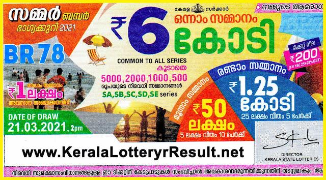 BUY Kerala Next Bumper,  BUY SUMMER  Bumper lottery 2021 BR 78, Kerala lottery Online purchase