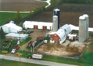 An aerial view of Jenny's family farm.