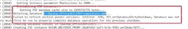 Veeam Backup O365: JetError -550, JET_errDatabaseDirtyShutdown