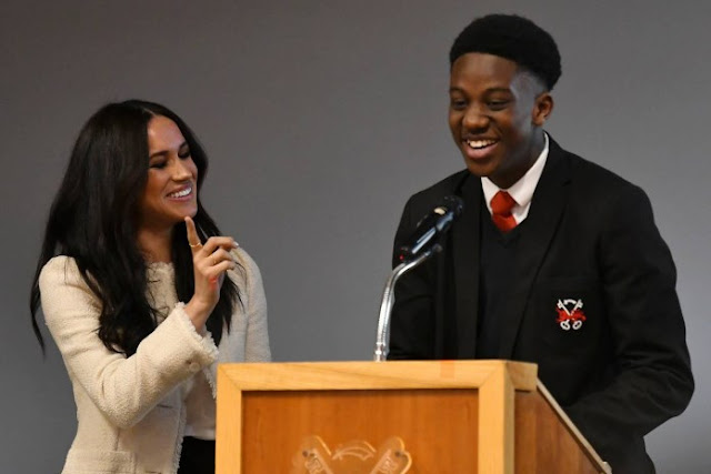 "Nigerian Teen, Aker Okoye Apologizes To Prince Harry For ""Cuddling"" His Wife, Meghan Markle"