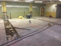 New circulation desk layout and wiring prep.