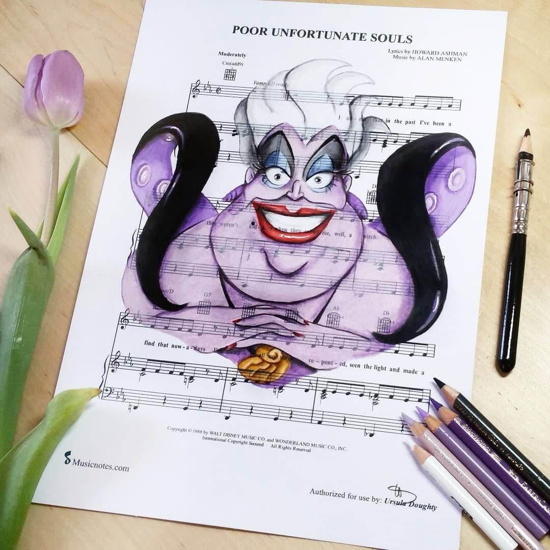 08-Ursula-Ariel-U-Doughty-Movie-Character-Drawings-on-Music-Sheets-www-designstack-co