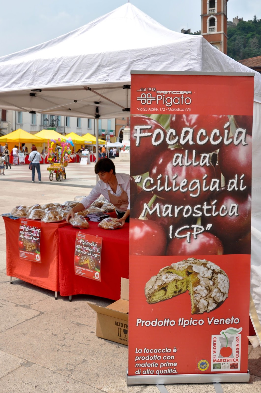 The cherry focacia stall at the Cherry Show Market in Marostica, Veneto, Italy