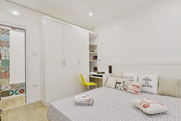 Apartamento decorado usando estampa de azulejo nos ambientes. Blog Achados de Decoração
