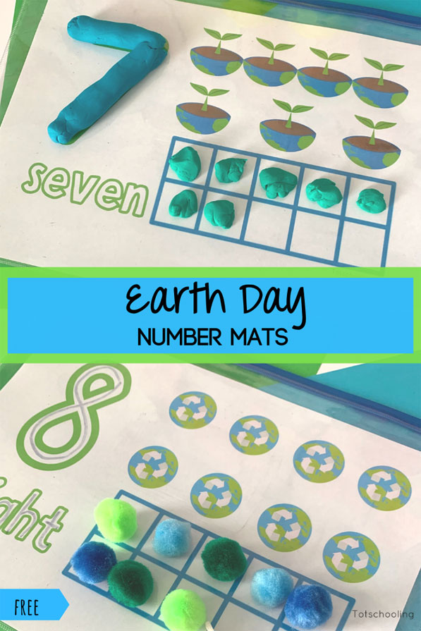 FREE Earth Day counting and number mats with ten frames, perfect for preschoolers to practice math skills while celebrating the Earth.
