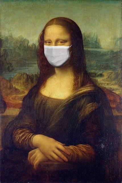 The Monna Lisa with Coronavirus Mask