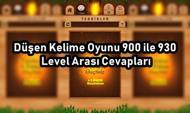 Düşen Kelime Oyunu 900 ile 930 Level Arası Cevapları