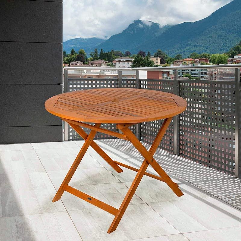 Mesa de jardín de madera redonda plegable