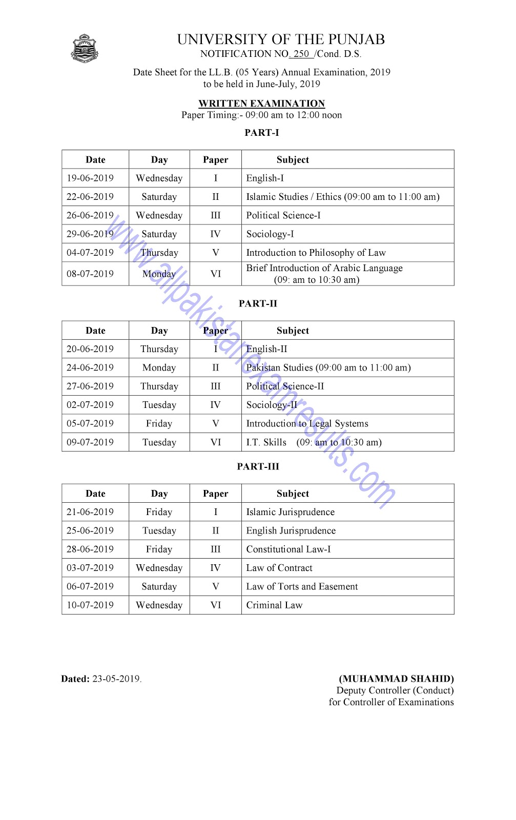 Date Sheet LLB 5 Years Annual 2019