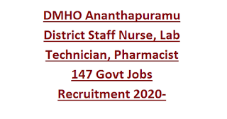 DMHO Ananthapuramu District Staff Nurse, Lab Technician, Pharmacist 147 Govt Jobs Recruitment 2020-Application Form