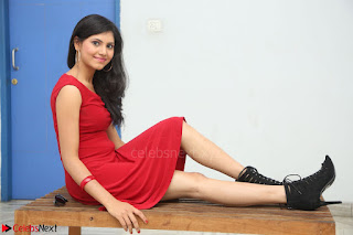 Mounika Telugu Actress in Red Sleeveless Dress Black Boots Spicy Pics 005.JPG