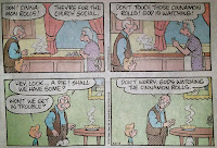"Sunday comic strip Grandpa tells kid ""Don't worry! God is watching the pie"""