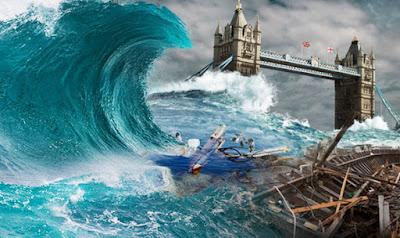tsunami, aumento do nível do mar, derretimento de geleiras, mudanças planetárias, fim da humanidade