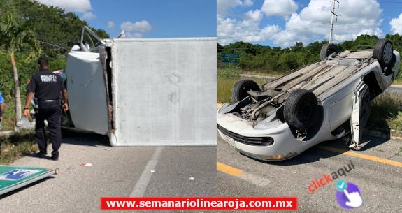 Cansancio de conductores ocasiona 2 accidentes carreteros en el tramo Playa del Carmen-Puerto Aventuras