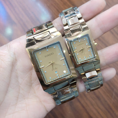 Đồng hồ cặp đôi Rado mặt vuông RD