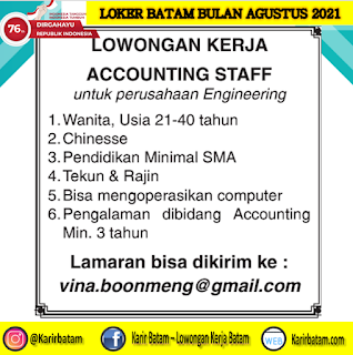 Lowongan Kerja Staff Accounting Agustus 2021