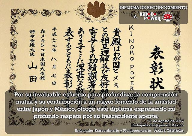 Reconocimiento Embajada del Japón en México al programa de radio Kinoko Power