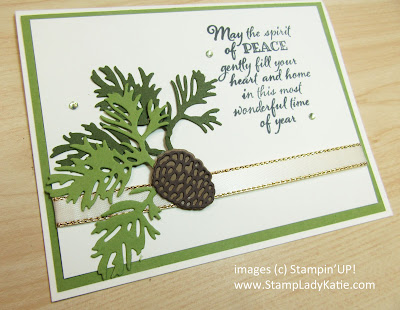 Christmas card made with Stampin'UP!'s Peaceful Boughs stamp set and Beautiful Boughs dies. Rhinestones are colored with a Stampin'Blend.