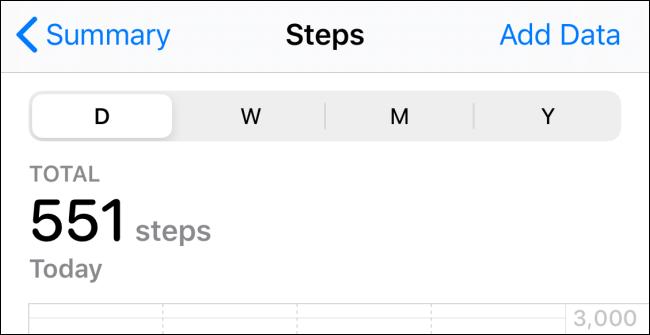 """قسم """"الخطوات"""" في تطبيق Health."""