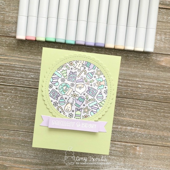 Merry & Bright Holiday card by Amy Tsuruta | Christmas Roundabout Stamp Set, Circle Frames Die Set, and Banner Trio Die Set by Newton's Nook Designs #newtonsnook #handmade