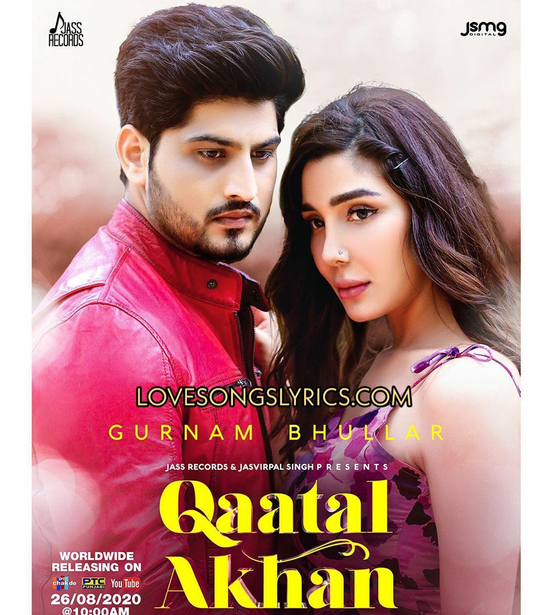 Qaatal Akhan Lyrics In Hindi