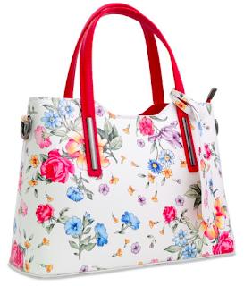 geantă albă cu flori vară