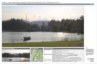 Image, right: visual simulation of the AWE as it will be seen from Gregg Lake in Antrim, NH. (Credit: AWE) Click to Enlarge.