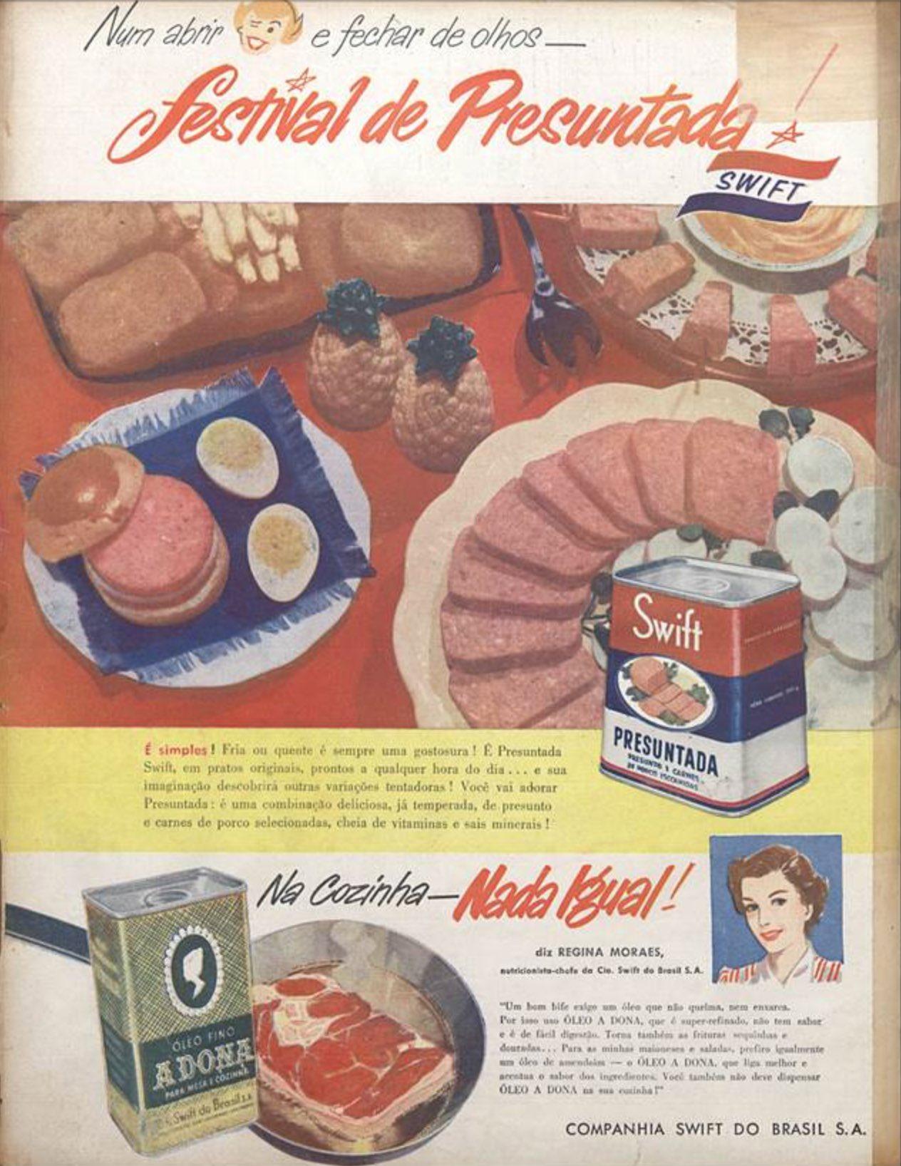 Anúncio antigo Festival de Presuntada Swift 1954