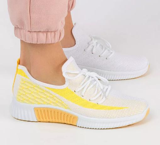 Pantofi sport dama ieftini albi cu galben din panza si talpa de spuma