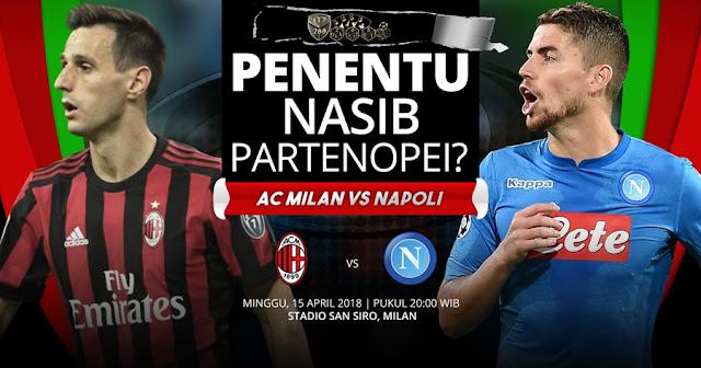 Prediksi AC Milan Vs Napoli, Minggu 15 April 2018 Pukul 20.00 WIB