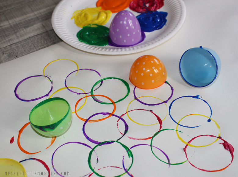 Plastic Easter egg art project for toddlers and preschoolers