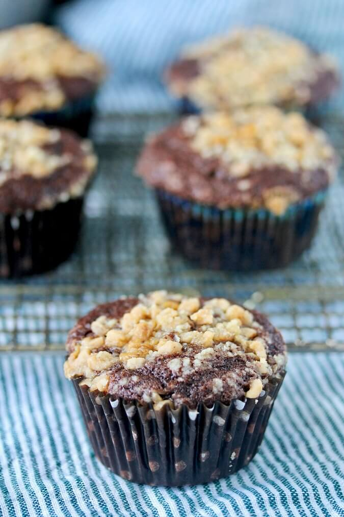 Toffee, chocolate, and coffee muffins
