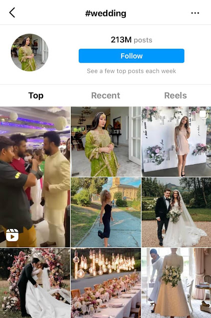 Most popular wedding Instagram hashtags for likes