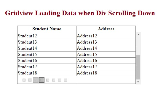 JSON : Gridview Loading Data when div scroll down by Using JQuery